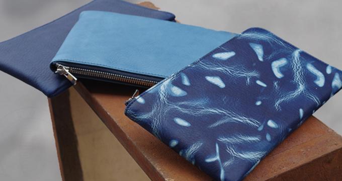 Cramp【SUKUMO Leather】藍染め L字ファスナーロングウォレット【